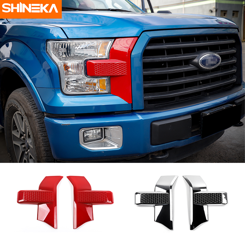SHINEKA Car Front Face Decorative Cover Plastic Front Bumper Headlight & Grille Cover Trim For Ford F150 2015+ Car Styling geely sc7 sl car front headlight head light transparent cover