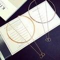 Mujeres de la manera de oro gran círculo torques choker collar de cadena del esmalte del triángulo collares pendientes al por mayor