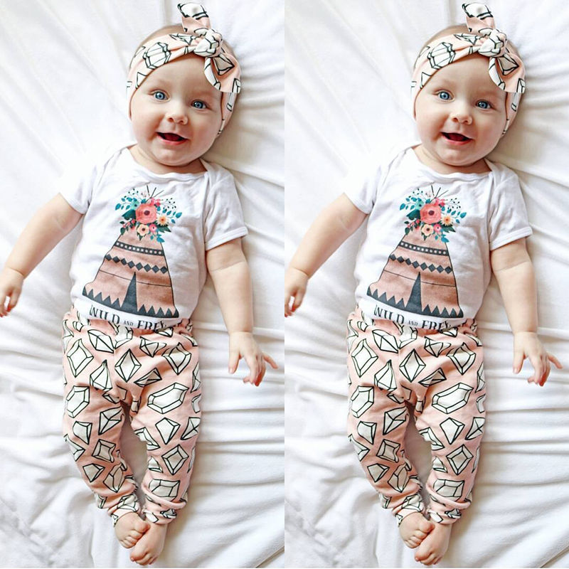 Toddler Newborn Baby Girl Clothing Set Floral Romper Jumpsuit Long Pants 2PCS Outfits us stock floral newborn baby girls lace romper pants headband outfit set clothes infant toddler girl brief clothing set playsuit