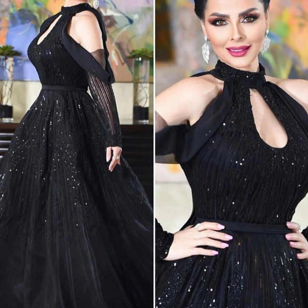 ball gown   prom     dresses   2020 long sleeve crystal beading sequins keyhole tulle black evening   dresses   gowns vestidos de fiesta