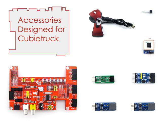 Cubietruck Cubieboard 3 Cubietruck A20 Accesorios Pack = DVK570 Tarjeta de Expansión + Cámara + GPS + Módulos UART