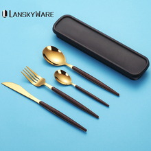 LANSKYWARE Portable Gold Cutlery Set With Wood Handle 304 Stainless Steel Dinnerware For Kids Dinner Travel Tableware