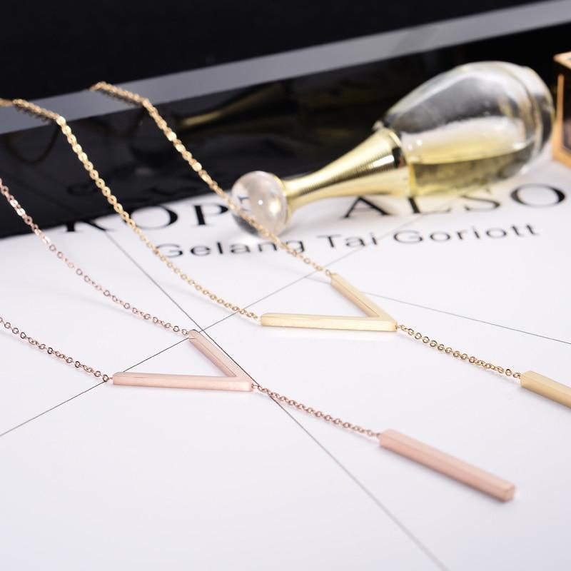 YUN RUO 2020 옐로우 로즈 골드 컬러 V 모양 초커 목걸이 여자 여자 패션 선물 316 L 스테인레스 스틸 브랜드 쥬얼리