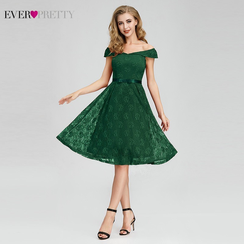 Elegant Short Lace Cocktail Dresses 2019 Ever Pretty A-Line V-Neck Cap Sleeve Sexy Women Summer Party Gowns Robe De Cocktail