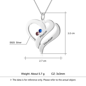 Image 5 - Personalized Necklaces 925 Sterling Silver Heart Shape Pendants Engrave Name Necklaces Birthstone DIY Mothers Day Gift