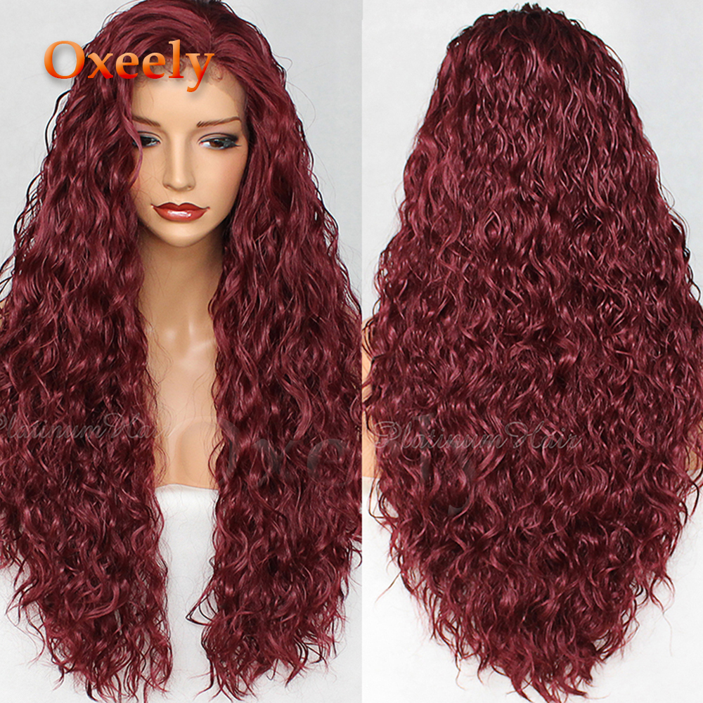 Oxeely 180 Density Burgundy Long Loose Curly Hair Synthetic Lace Front Wig Natural Hairline Red Loose