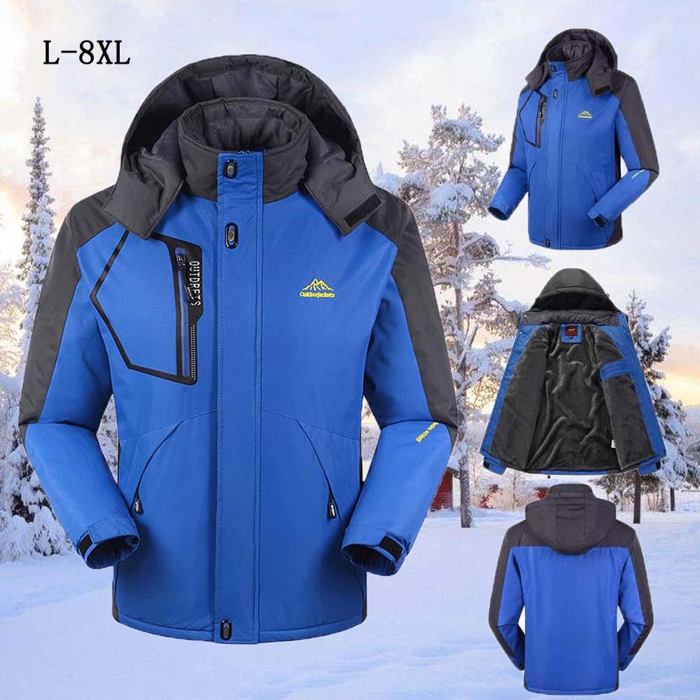 -30 ° C AJUSTE Mais casaco de Veludo Grosso Down & Parka 6XL 7XL 8XL 2017 chaquetas jaqueta de inverno dos homens à prova d' água à prova de vento hombre