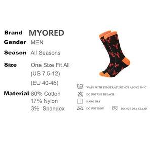 Image 4 - MYORED Lote calcetines informales para hombre, a cuadros, fruta de colores, dibujos animados, animales, rayas, calcetas de algodón de vestir