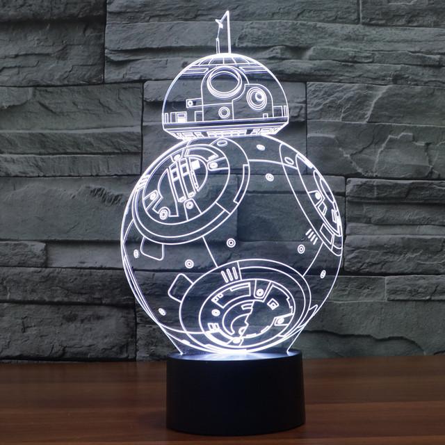 El Nuevo Star Wars BB-8 colorido 3D Luz de La Lámpara LED Táctil Interruptor Estéreo Ilusión Visual Nocturna Centellante