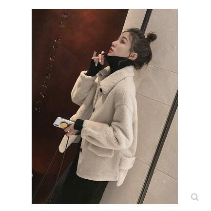 Lâche Épaissie Court Simulé Pour D'agneau Hiver Suede rouge Vêtements fuchsia Beige jaune 2018 revers Femmes Style Turn New Coréenne Tcl1JFK