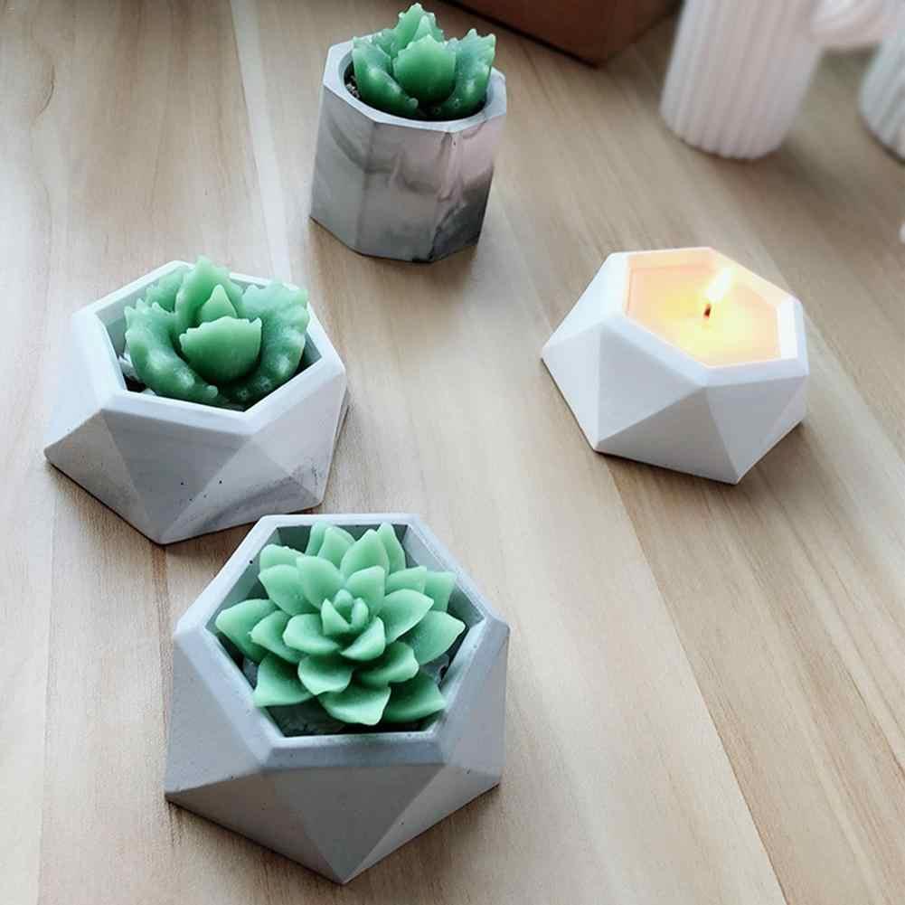 Diamond Permukaan Berbentuk Succulent Tanaman Bunga Pot Silikon Mold DIY Asbak Tempat Lilin Cetakan Gypsum Semen Berdaging Pot