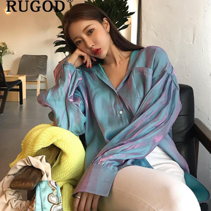 RUGOD Korean Chic Elegant Gradient Shirt Women Fashion Turn-down Collar Long Sleeve Blouses Women Tops 2019 Harajuku Kimono