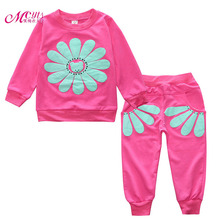 Фотография Spring Autumn Children Clothing Set New Baby Girls Sunflower Sports Suit Cotton Casual Kids Toddler Babies Clothes Set 1-3 Years