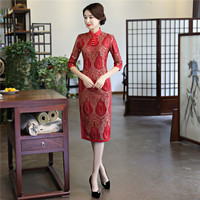 YZ 2018 New Red Traditional Chinese Women Dress Sexy Lace Flower Short Cheongsam Vintage Handmade Button