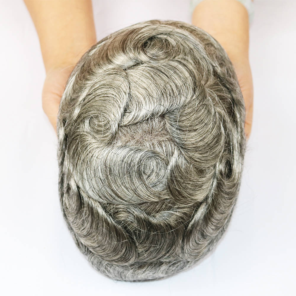 SimBeauty Best Quality Natural Brown Gray Mono Lace Toupees Hand Tied Hairpieces Human Hair Replacement Mens Toupees