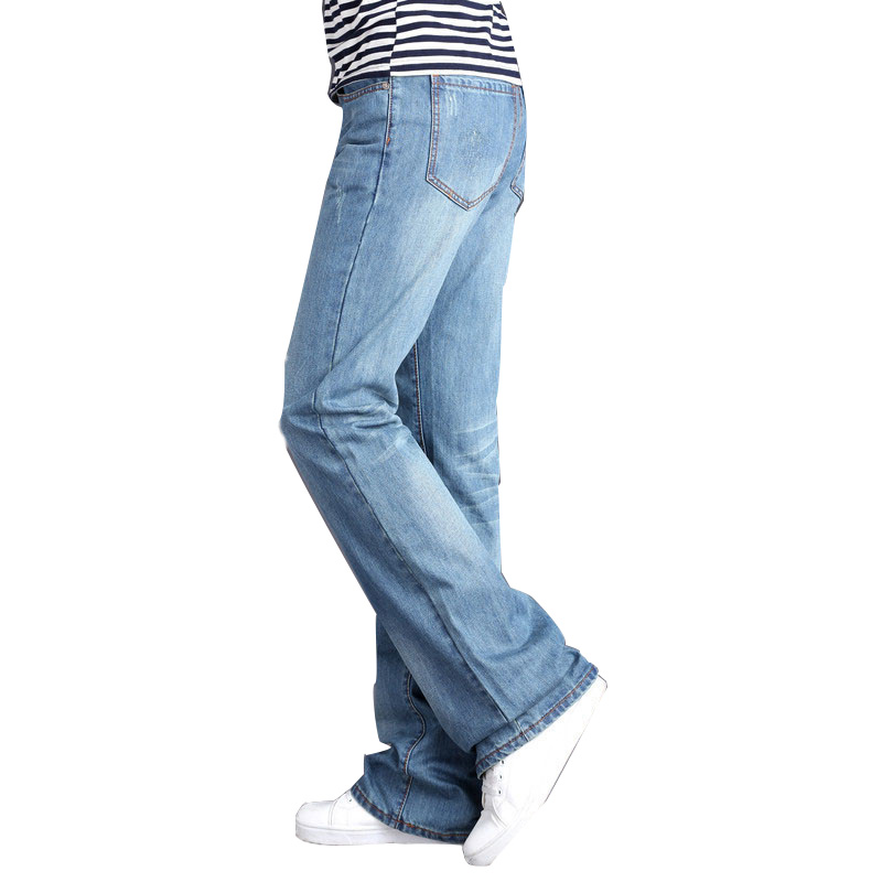 Mens Flared Leg Jeans Trousers High Waist Long Flare Jeans For Men Bootcut Blue Jeans Hommes Plus Size 28-36