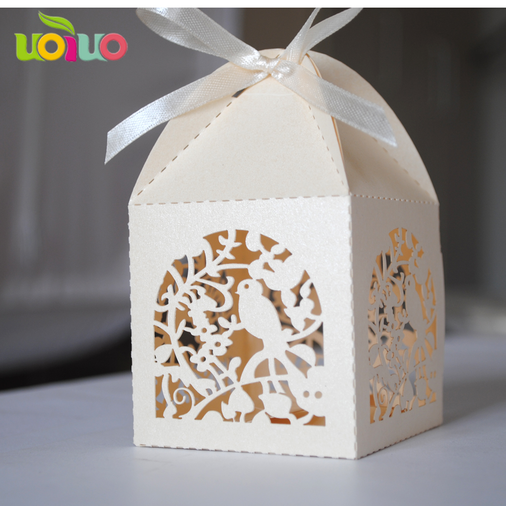 white gold Romantic Wedding Favor Boxes Laser Cut Gift bird Candy ...