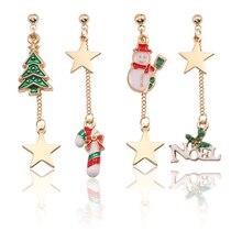 Creative Star Christmas Tree Snowman Long Tassel Earrings Glamour Womens Delicate Gold Asymmetric Stud Gifts