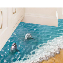 3D Dolphin Floor Stickers Beautiful Sea
