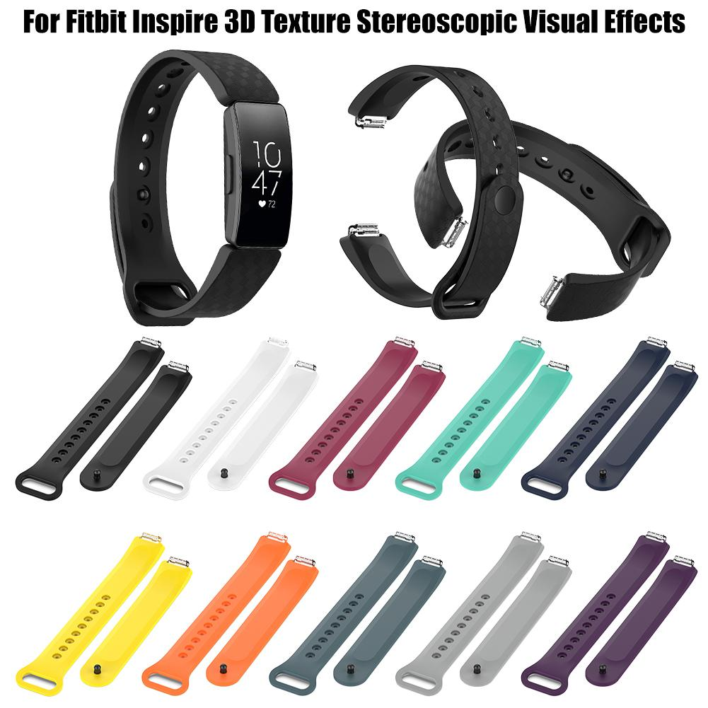 Image 5 - 3D Texture Soft Band Silicone Sport Wristband Watch Strap 3D Texture Stereoscopic Visual Effects For Fitbit Inspire-in Smart Accessories from Consumer Electronics