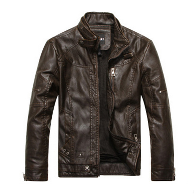 2018 New Artificial leather motorcycle jacket men autumn and winter leather suit mens mens leather jacket business casual coat
