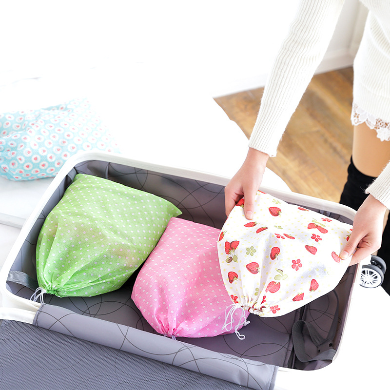 Image 2 - 1PCS Waterproof Non woven Container Organizer Shoe Cloth Storage Bag Travel Drawstring Bags Cloth Underwear Shoes Receive Bags-in Storage Bags from Home & Garden