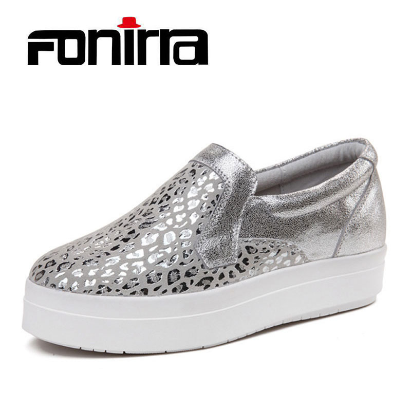 FONIRRA Women Sneakers Platform Flats Loafers Shoes Bling Leopard Leather Slip on Casual White Sole Ladies Shoes silvery 120 fashion tassels ornament leopard pattern flat shoes loafers shoes black leopard pair size 38