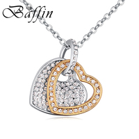 ea419c55f49e BAFFIN Crystals Pave Double Heart Pendant Necklaces Silver Gold Color Chain Necklace  Jewelry For Women Mother