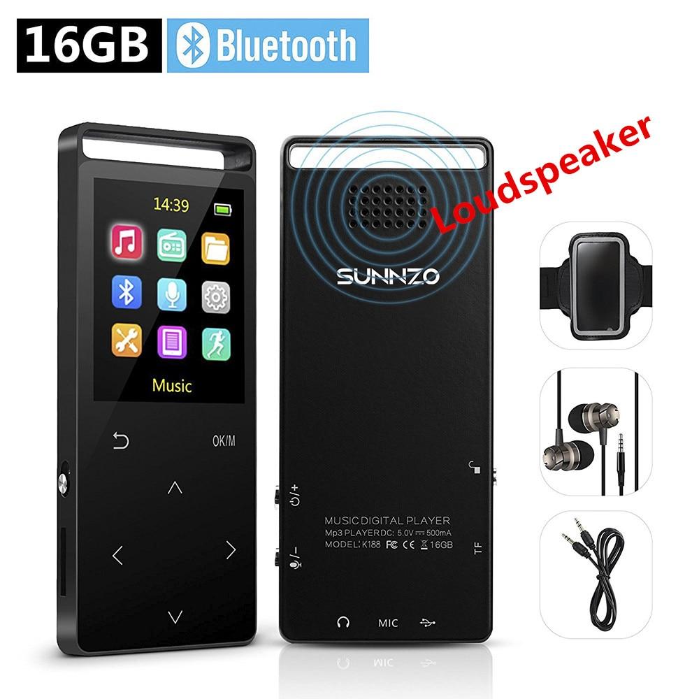16GB MP3 Player Bluetooth HiFi Digital Music Mini Portable Audio Player W Inbuild Speaker FM Radio Pedometer Free Armband