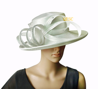 NEW CREAM IVORY Kentucky Derby Hat Dress Hat Church Hat SATIN Hat with Rhinestones band.FREE SHIPPING