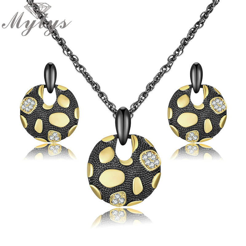 Mytys 3 Color Round Pendant Necklace Drop Earrings Jewelry Sets for Women Metal Drops Pattern Fashion Jewelry CN445 CN443 CN442 pair of sweet simply designed water drop pattern pendant earrings for women