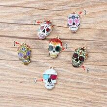 100 Uds Diy Jewelry 12*21mm color dorado aleación pintura esmalte azúcar cráneo encantos esqueleto colgantes para pulsera hecha a mano CH0278