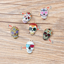 100pcs Diy Jewelry 12*21mm gold color alloy painting enamel sugar Skull Charms Skeleton Pendants for bracelet handmade CH0278