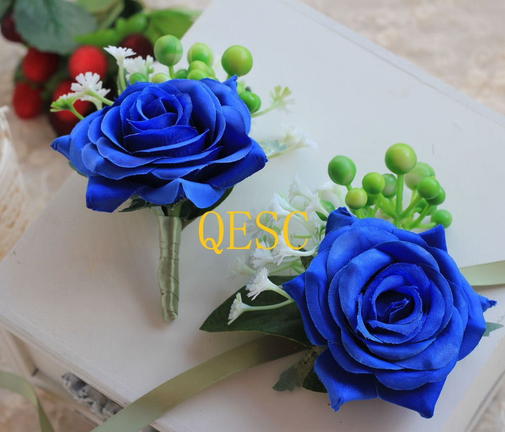 Royal Blue Silk Flower Wrist Flower Corsage Flower Diy Sinamay