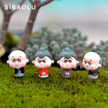 Old Granny Grandparents Figures decorative mini fairy garden acartoon nimals statue miniature Moss ornaments