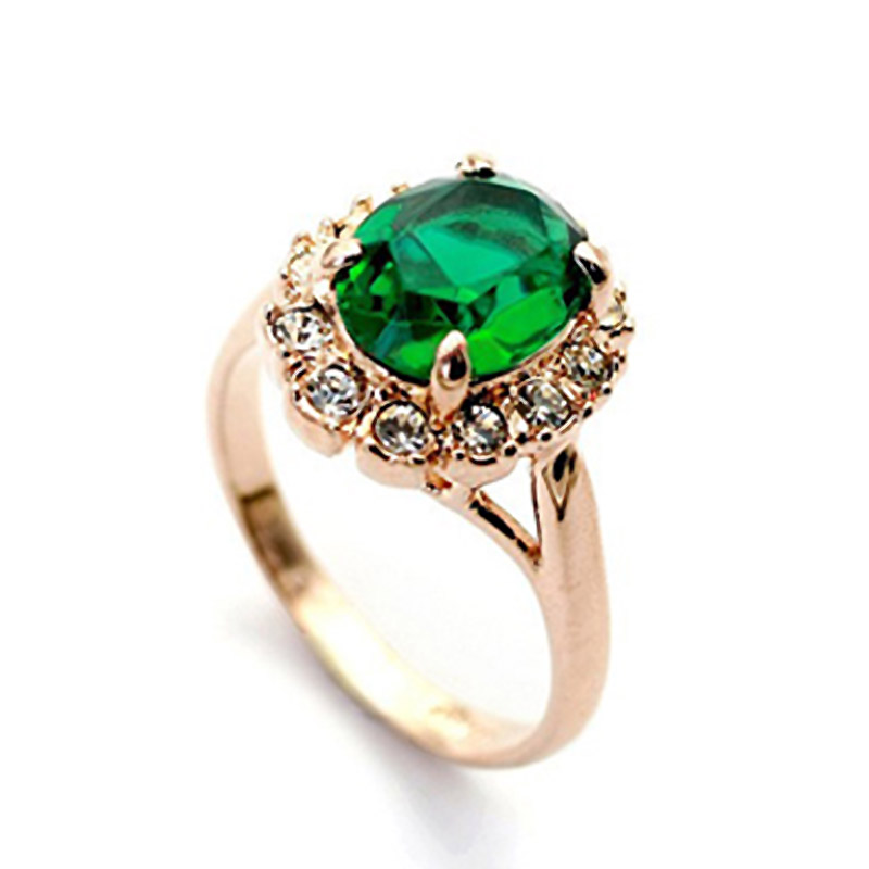 Precious Stone Wedding Rings Created Emerald Rose Gold Plated Rings For Women Austria