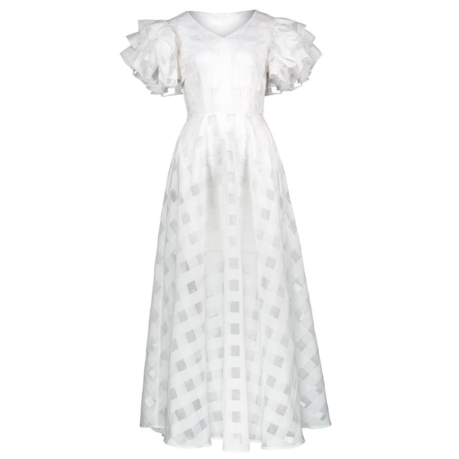 Women Organza White Dress Ruffled Short Sleeve Elegant A-Line Vintage Dresses Summer Hollow Out V Neck Party Long Maxi Dress