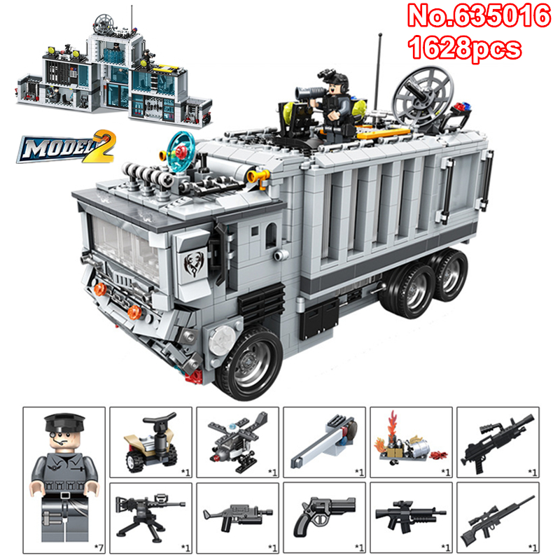DIY 1628pcs Mobile Military SWAT Command Vehicle Truck War Base Building Blocks Mini Army Figures Bricks Legoing Toys for KidsDIY 1628pcs Mobile Military SWAT Command Vehicle Truck War Base Building Blocks Mini Army Figures Bricks Legoing Toys for Kids