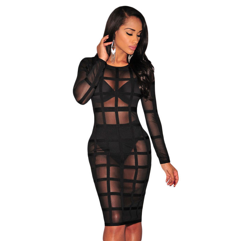 product Robe Hot Online Sael Fashion O-neck Full Sleeve Club Party Nightwear Sexy Nude/black Bandage Caged Lined Dress Lc28382 Vestido