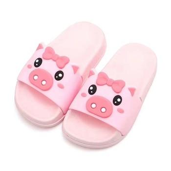 girls slippers summer hot flip flop children sandals cartoon pink piggy big girls beach slippers kids shoes PVC sandal 30-35 new
