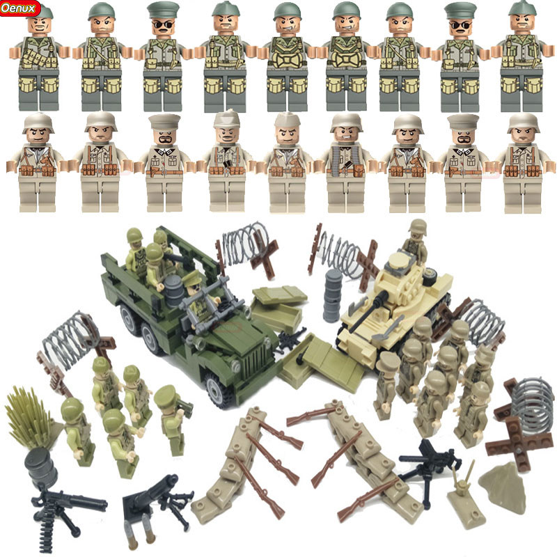 Oenux WW2 North Campaign Military US Army VS German Army Figures Building Block Classic Dodge WC63 MARK1 Tank Model Brick Toy new arrival world war ii the battle of taierzhuang military building brick ww2 chinese japanese army figures building block toy