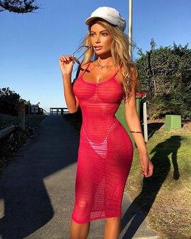 Καλοκαιρινά Φορέματα Διαφάνεια Τιράντες beachwear Παραλίας Χρωματιστά