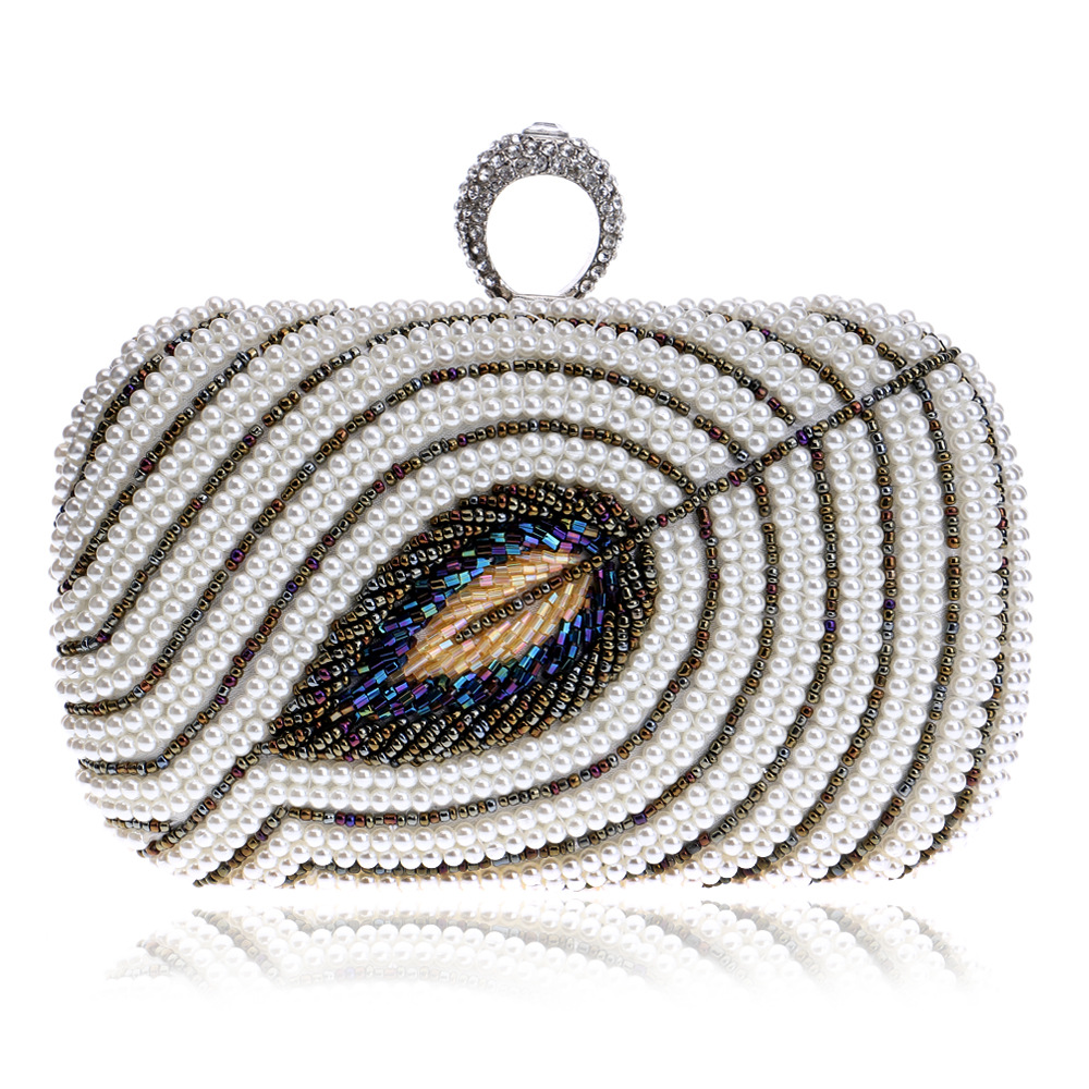 цена на Women's Chic Evening Clutch Decorated with Luxury Pearls and Diamonds, Evening Handbags with Detachable Chain