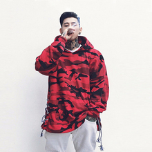 2018 Fashion Mens Drawstring Camo Hooded Red Camouflage Hoodie High Street Sweatshirts Men Hip Hop Hoodies Sweatshirt