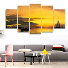 HD Printed Canvas Paintings Modular Posters 5 Panel Sunset Ship Seascape Home Decor Tableau Wall Art Modern Pictures PENGDA(China)