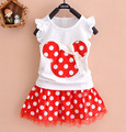 2017 New T Shirt  Skirt Baby Kids Suits 2Pcs Fashion Girls Clothing Sets Minnie Children Clothes Bow Tops Suit Dresses 1-7T
