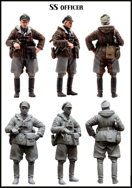 unpainted kit 1 35 the german ss great officer include one soldier