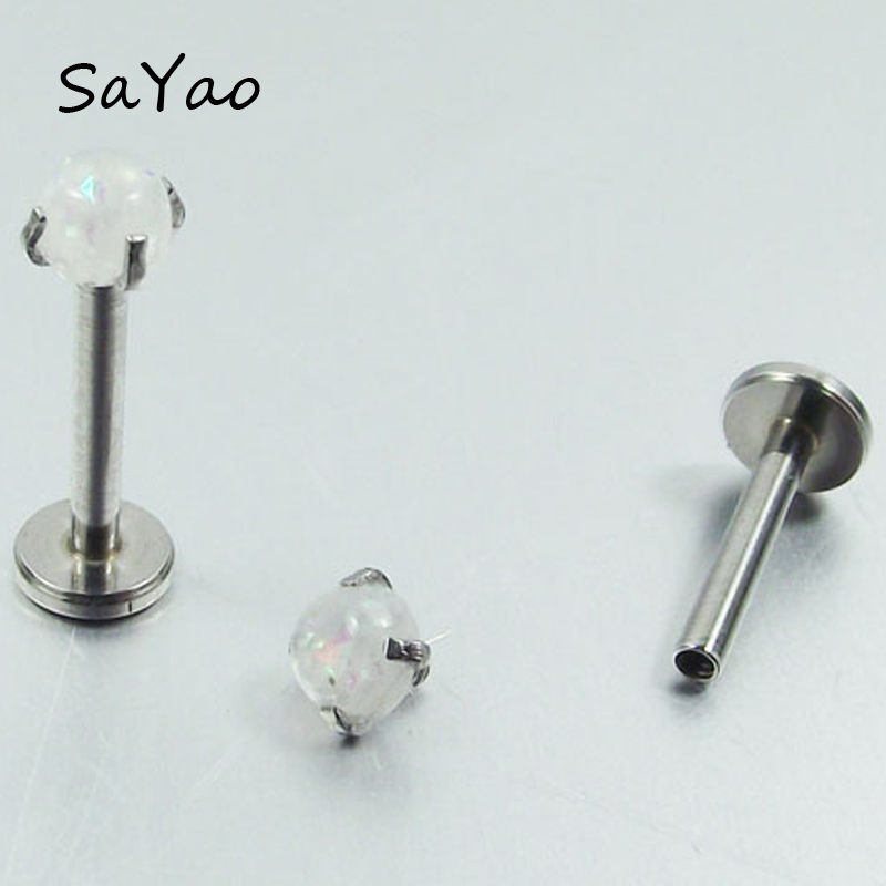 SaYao 1Pieces 16G Opal Stone Lip ring Internally Threaded Prong Top Gem Labret Rings ear tragus stud EarringBody Piercing