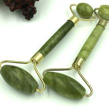 Double Head Green Jade Roller Elliptical Massager Eye Face Neck Facial Slimming Thin face B