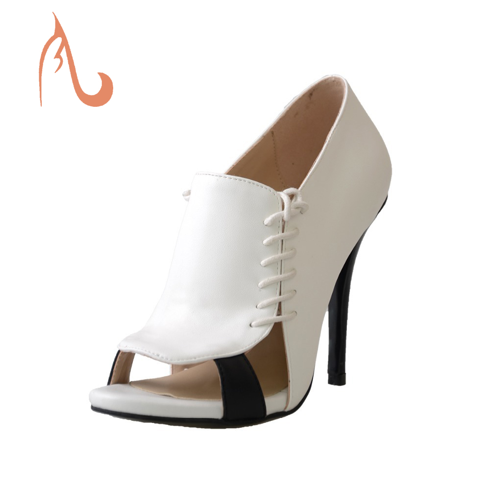 ФОТО BC New Women White Sexy Full Grain Pleather Peep-Toe High Thin Heels Lacing Side Pumps Women Shoes,Party&Evening,Big Size 4-16.